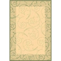 "Safavieh Oasis Scrollwork Natural/ Olive Green Indoor/ Outdoor Rug - 5'-3"" x 7'-7"""