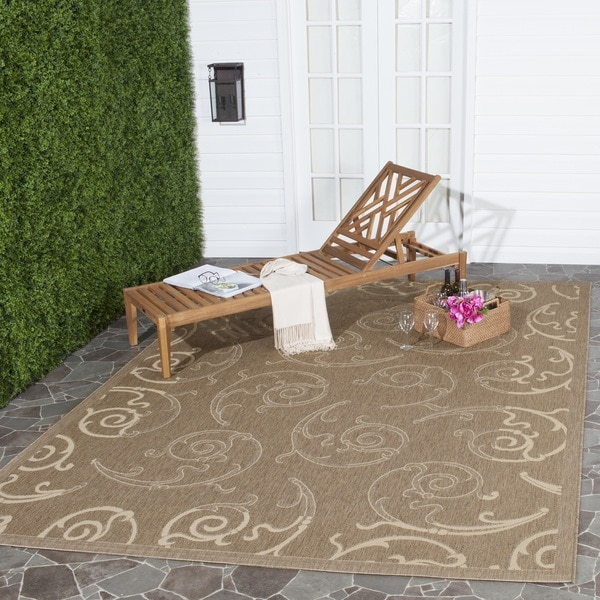 Safavieh Oasis Scrollwork Brown/ Natural Indoor/ Outdoor Rug (9' x 12')
