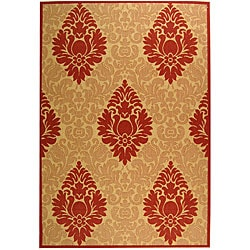 Safavieh St. Barts Damask Natural/ Red Indoor/ Outdoor Rug (5'3 x 7'7)