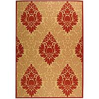 Safavieh St. Barts Damask Natural/ Red Indoor/ Outdoor Rug - 5'3 x 7'7
