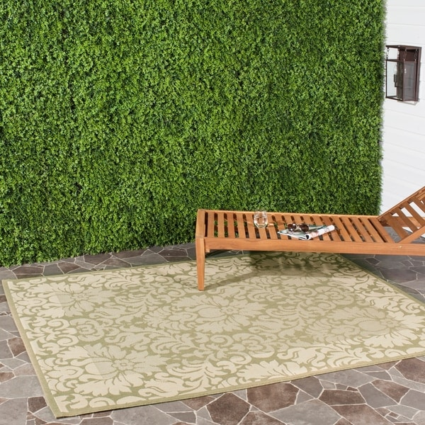 Safavieh Kaii Damask Olive Green/ Natural Indoor/ Outdoor Rug - 6'7 x 9'6