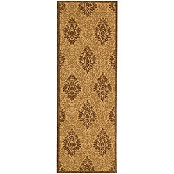 "Safavieh St. Barts Damask Natural/ Brown Indoor/ Outdoor Runner - 2'4"" x 6'7"""