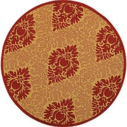 "Safavieh St. Barts Damask Natural/ Red Indoor/ Outdoor Rug - 5'3"" x 5'3"" round - Thumbnail 0"