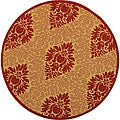 "Safavieh St. Barts Damask Natural/ Red Indoor/ Outdoor Rug - 5'3"" x 5'3"" round"