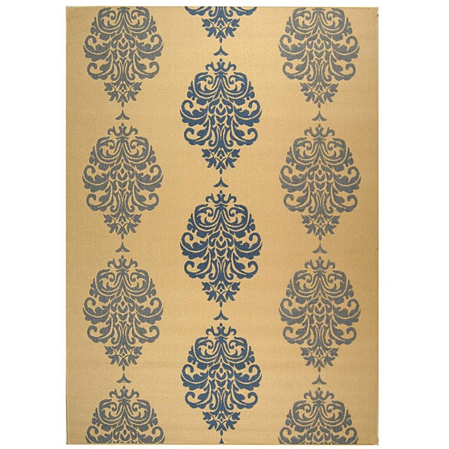 Safavieh St. Martin Damask Natural/ Blue Indoor/ Outdoor Rug - 9' x 12'