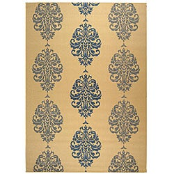 Safavieh St. Martin Damask Natural/ Blue Indoor/ Outdoor Rug - 9' x 12' - Thumbnail 0