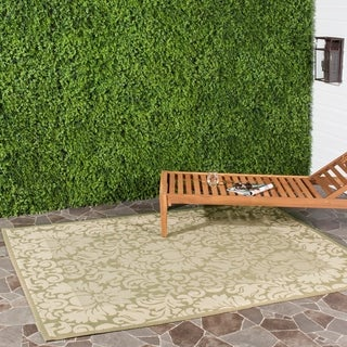 Safavieh Kaii Damask Olive Green/ Natural Indoor/ Outdoor Rug (8' x 11')