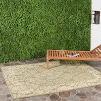 Safavieh Kaii Damask Olive Green/ Natural Indoor/ Outdoor Rug - 8' X 11'