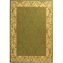 Safavieh Kaii Damask Olive Green/ Natural Indoor/ Outdoor Rug (9' x 12')