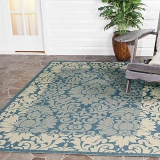 Safavieh Kaii Damask Blue/ Natural Indoor/ Outdoor Rug (6'7 x 9'6)