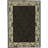 Safavieh Kaii Damask Black/ Sand Indoor/ Outdoor Rug - 2'7 x 5'