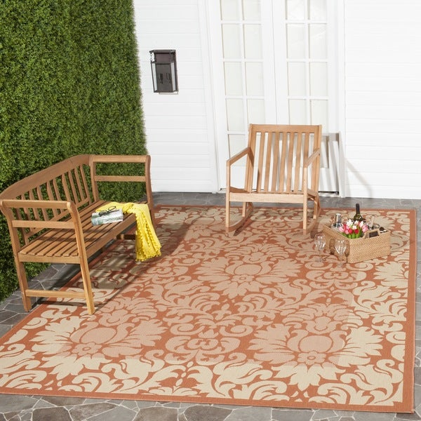 Damask Flatweave Rug: Safavieh Kaii Damask Terracotta/ Natural Indoor/ Outdoor