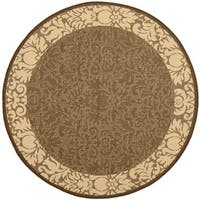 Safavieh Kaii Damask Chocolate/ Natural Indoor/ Outdoor Rug - 6'7 Round