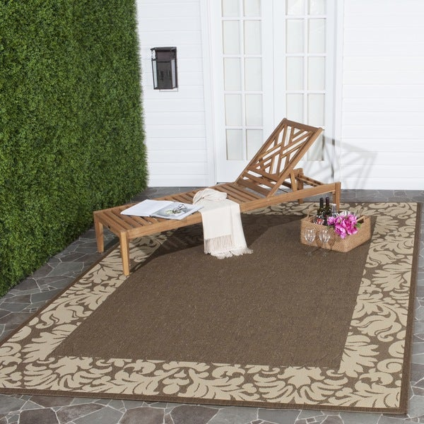 Safavieh Kaii Damask Chocolate/ Natural Indoor/ Outdoor Rug (8' x 11')