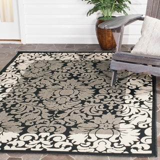 Safavieh Indoor/ Outdoor Kaii Black/ Sand Rug (5'3 x 7'7)
