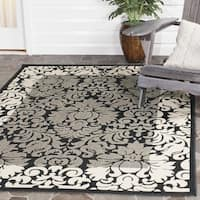 Safavieh Kaii Damask Black/ Sand Indoor/ Outdoor Rug - 9' x 12'
