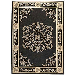 Safavieh Sunny Medallion Black/ Sand Indoor/ Outdoor Rug (9' x 12')
