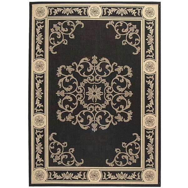 Safavieh Sunny Medallion Black/ Sand Indoor/ Outdoor Rug - 9' x 12'