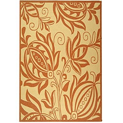 Safavieh Indoor/ Outdoor Andros Natural/ Terracotta Rug (9' x 12')