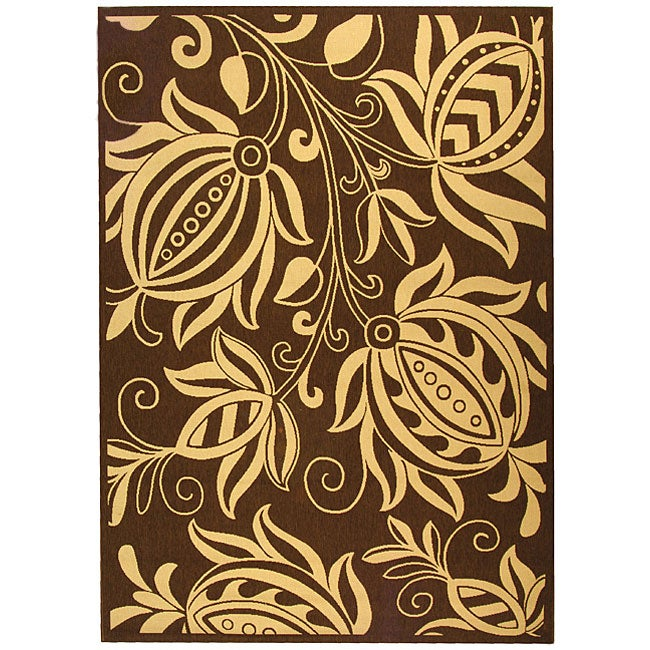 Safavieh Andros Chocolate/ Natural Indoor/ Outdoor Rug (9' x 12')