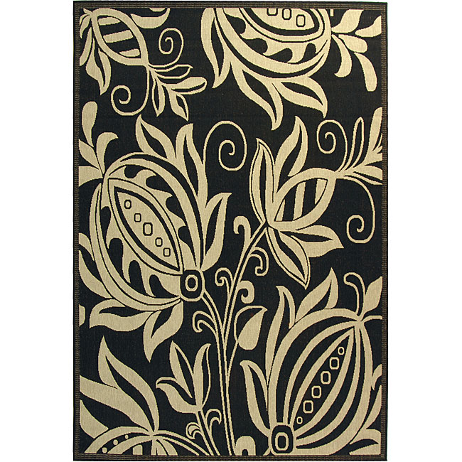 Safavieh Andros Black/ Sand Indoor/ Outdoor Rug (2'7 x 5') - Thumbnail 0