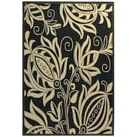 "Safavieh Andros Black/ Sand Indoor/ Outdoor Rug - 5'3"" x 7'7"""
