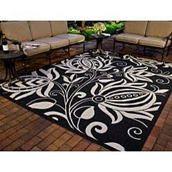 Safavieh Andros Black/ Sand Indoor/ Outdoor Rug (8' x 11') - Thumbnail 1