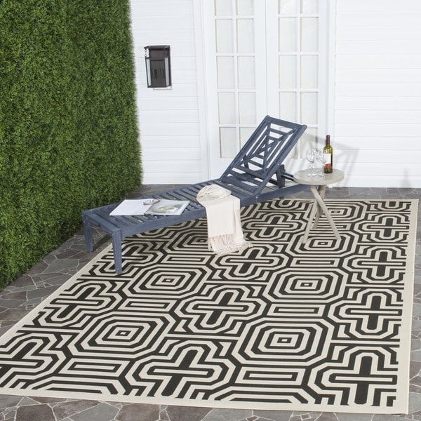 Safavieh Matrix Sand/ Black Indoor/ Outdoor Rug - 9' x 12'