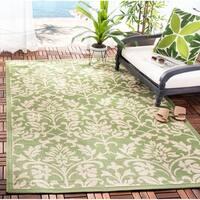 """Safavieh Seaview Olive Green/ Natural Indoor/ Outdoor Rug - 2'-7"""" x 5'"""