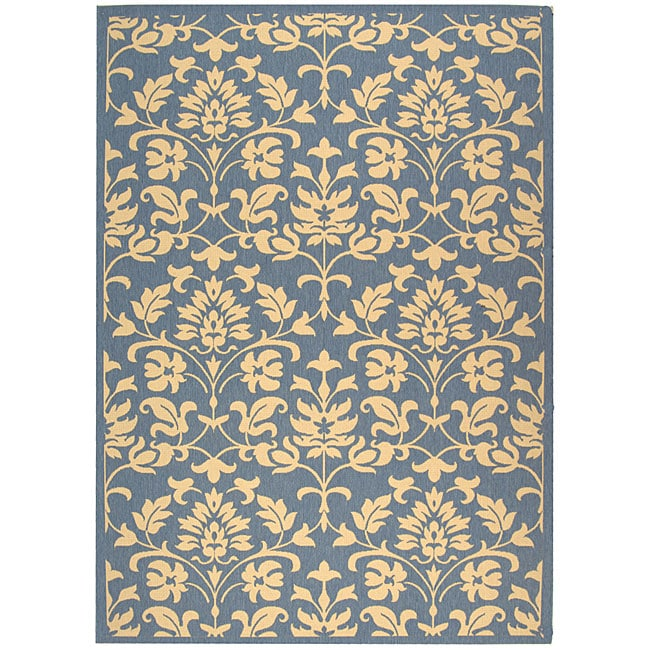 Safavieh Indoor/ Outdoor Seaview Natural/ Blue Rug (5'3 x 7'7)