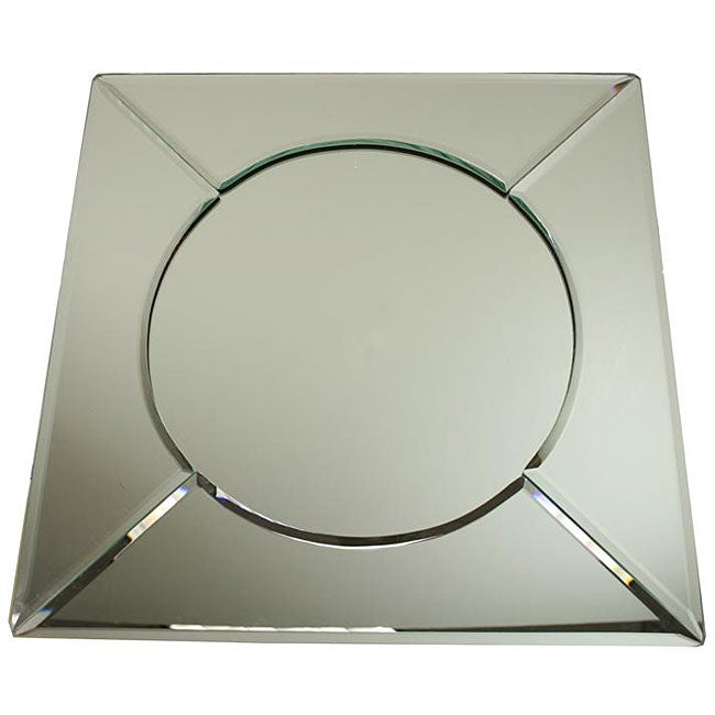 Round glass dining table set - Jay Beveled Edge Square 13 Inch Glass Mirror Charger Plates Set Of 6
