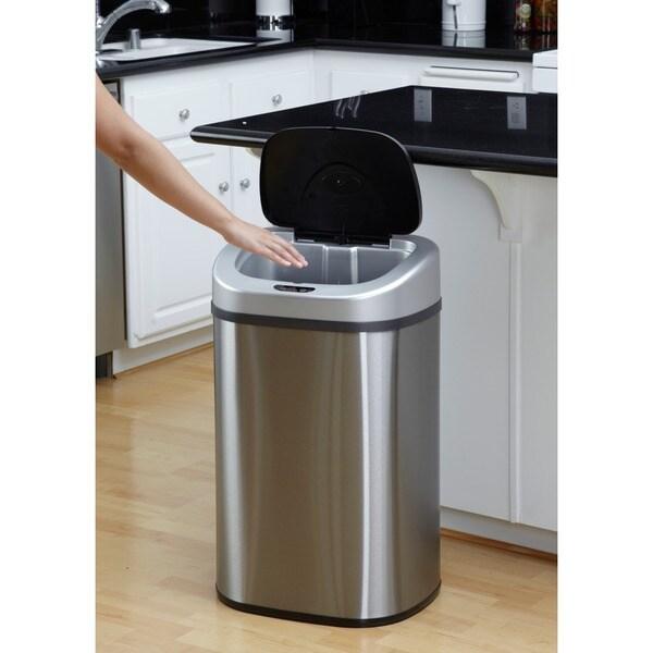 nine stars 211gallon motion sensor stainless steel trashcan free shipping today