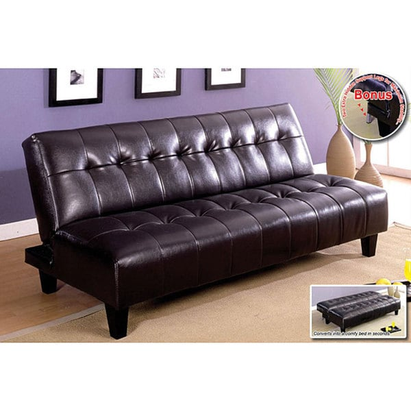 Shop Furniture of America Aille Bicast Leather Sofa/ Sofabed - Free ...