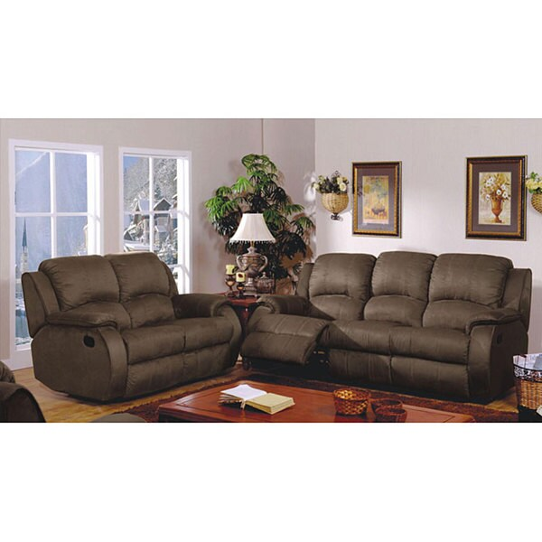 Beau Furniture Of America Bronxville Reclining 2 Piece Microfiber Sofa Set