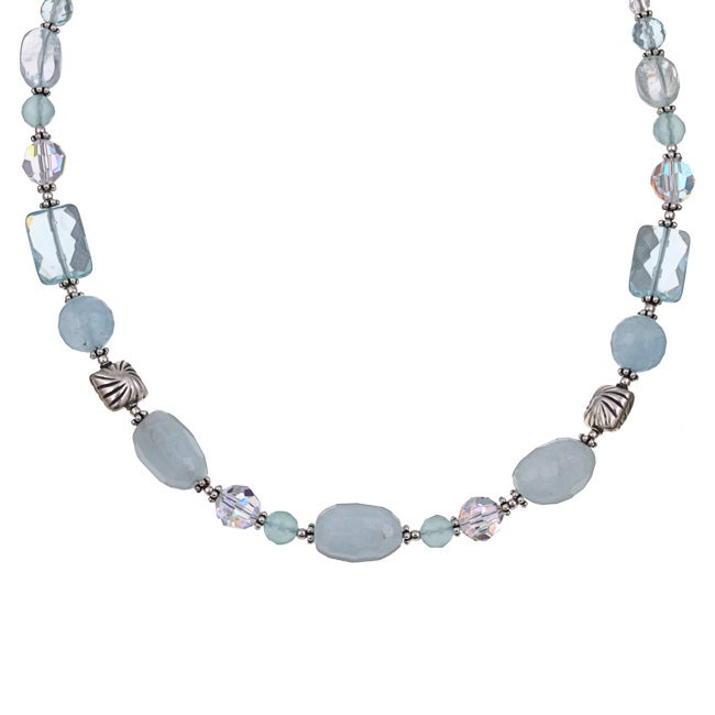 Lola's Jewelry Sterling Silver Aquamarine and Chalcedony Necklace