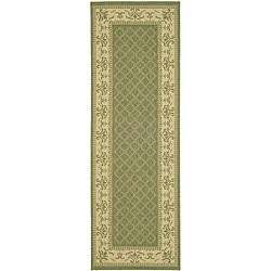Safavieh Royal Olive Green/ Natural Indoor/ Outdoor Runner - 2'4 x 9'11 - Thumbnail 0