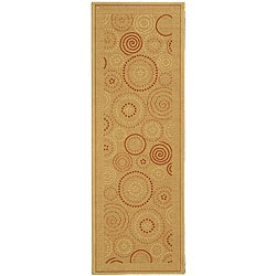 Safavieh Ocean Swirls Natural/ Terracotta Indoor/ Outdoor Runner (2'4 x 9'11)