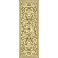 Safavieh Resorts Scrollwork Natural/ Olive Green Indoor/ Outdoor Runner - 2'4 x 9'11