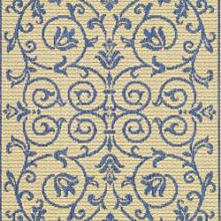 Safavieh Resorts Scrollwork Natural/ Blue Indoor/ Outdoor Runner (2'4 x 9'11) - Thumbnail 2