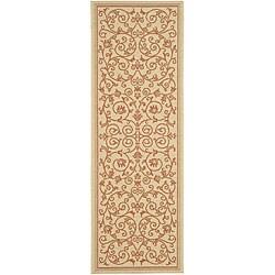 Safavieh Resorts Scrollwork Natural/ Terracotta Indoor/ Outdoor Runner (2'4 x 9'11)