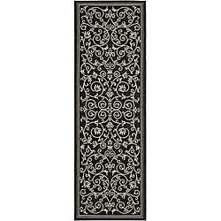 Safavieh Resorts Scrollwork Black/ Sand Indoor/ Outdoor Runner (2'4 x 9'11)