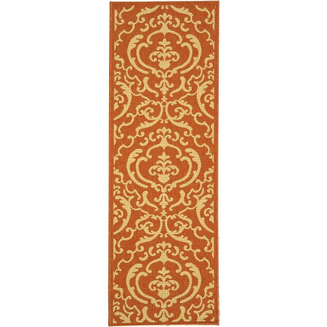 Safavieh Bimini Damask Terracotta/ Natural Indoor/ Outdoor Runner (2'4 x 9'11)