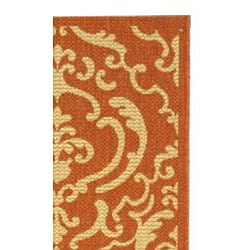 Safavieh Bimini Damask Terracotta/ Natural Indoor/ Outdoor Runner (2'4 x 9'11) - Thumbnail 1