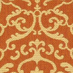 Safavieh Bimini Damask Terracotta/ Natural Indoor/ Outdoor Runner (2'4 x 9'11) - Thumbnail 2