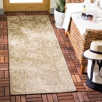 "Safavieh Oasis Scrollwork Brown/ Natural Indoor/ Outdoor Runner - 2'-3"" x 10'"