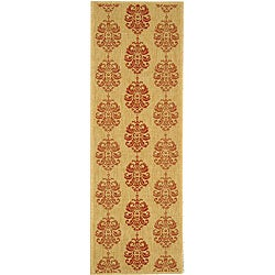 Safavieh St. Martin Damask Natural/ Red Indoor/ Outdoor Runner (2'4 x 9'11)