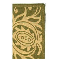 Safavieh Andros Olive Green/ Natural Indoor/ Outdoor Runner (2'4 x 9'11) - Thumbnail 1