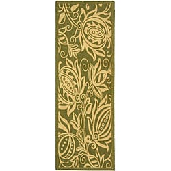"Safavieh Andros Olive Green/ Natural Indoor/ Outdoor Runner (2'4 x 9'11) - 2'4"" x 9'11"" - Thumbnail 0"