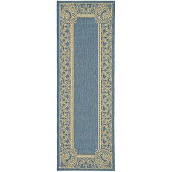 Safavieh Indoor/ Outdoor Abaco Blue/ Natural Runner (2'4 x 9'11)