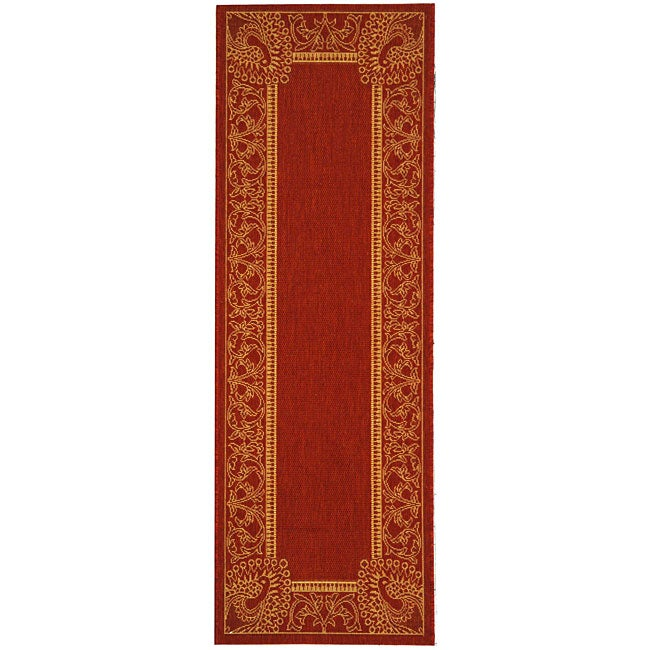Safavieh Abaco Red/ Natural Indoor/ Outdoor Runner Rug - 2'4 x 9'11